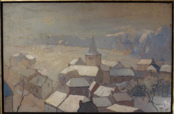 """Dörfliche Winterlandschaft""""A lexandre Gabriel Decamps - Öl auf Leinwand"""