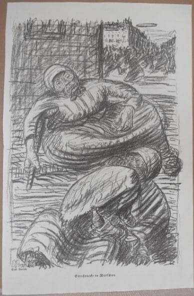 """Barlach Ernst, """"Straßenecke in Warschau ( mit Zeppelin ) """" 1915 Achtung"""