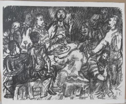 "Kokoschka Oskar, ""Jesus mit den Jüngern – Abendmahl"" 1916"