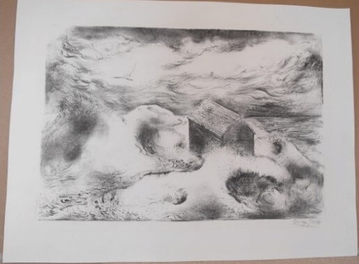 """Grosz George, """" Dünen und Hütte, Cape Cod """" 1949"""