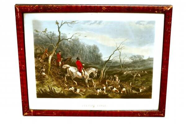 """""""Drawing Cover"""" - engraved by J.Harris, Szenen der englischen Jagd, Aquatinta"""