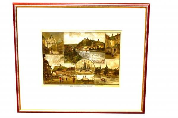 """Graz"""" – Xylographie nach Originalzeichung von G. Eberhard - Grazer Motive zur zweiten Hälfte 19.Jh., handkoloriert 1"""