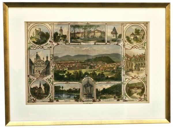 """Graz und Umgegend""""- Grazer Motive zur zweiten Hälfte 19.Jh., handkoloriert"""