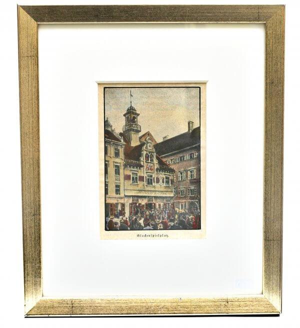 """""""Glockenspielplatz"""" – Xylographie - Grazer Motiv zur zweiten Hälfte 19.Jh., handkoloriert"""