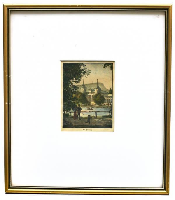 """""""Hilmteich"""" – Xylographie, Bezeichnung am Werk - Grazer Motiv zur zweiten Hälfte 19.Jh., handkoloriert"""