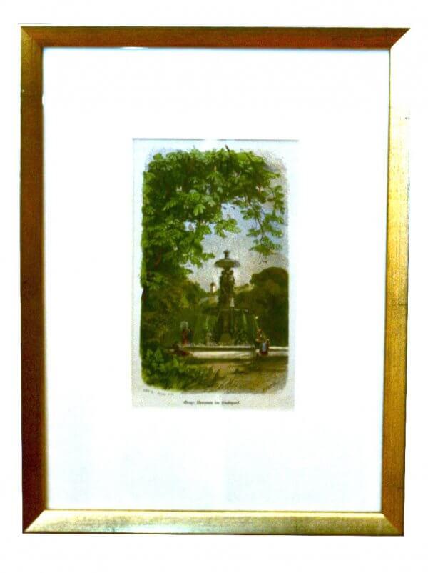 """""""Brunnen im Stadtpark"""" – Xylographie, Bezeichnung am Werk - Grazer Motiv zur zweiten Hälfte 19.Jh., handkoloriert"""