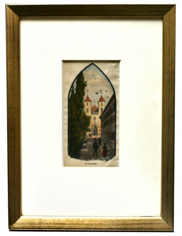 """""""Leechkirche """" – Xylographie, Bezeichnung am Werk - Grazer Motiv zur zweiten Hälfte 19.Jh., handkoloriert"""