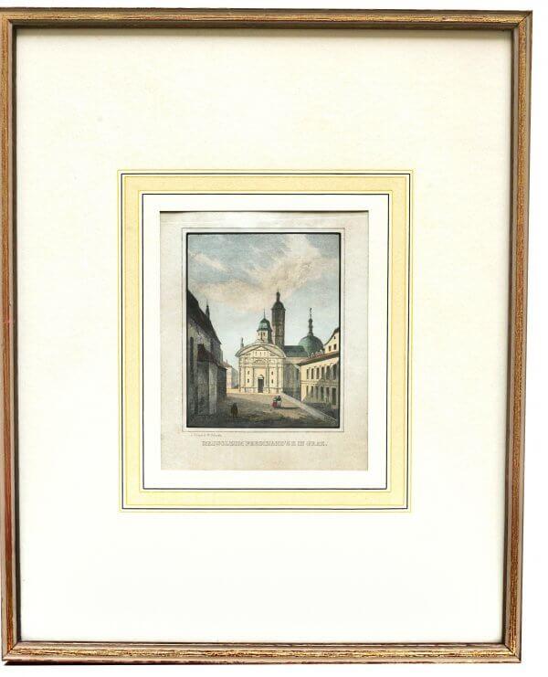 """""""Mausoleum in Graz"""" – Xylographie, Bezeichnung am Werk - Grazer Motiv zur zweiten Hälfte 19.Jh., handkoloriert"""