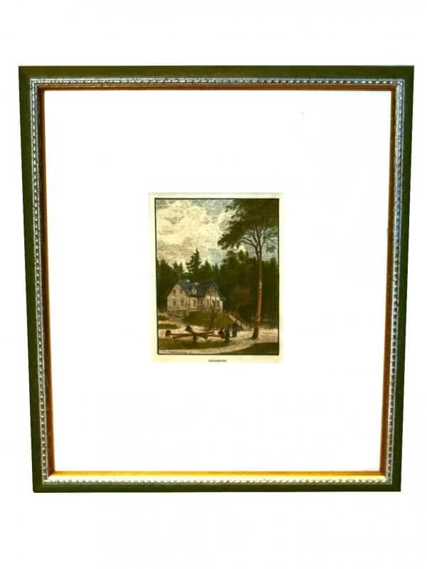 """Kaltenbrunng"""" – Xylographie, Bezeichnung am Werk – landschaftliche und städtebauliche Motive zur zweiten Hälfte 19.Jh., handkoloriert"""
