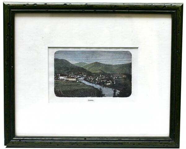 """Leoben"""" – Xylographie - landschaftliche und städtebauliche Motive zur zweiten Hälfte 19.Jh., handkoloriert"""