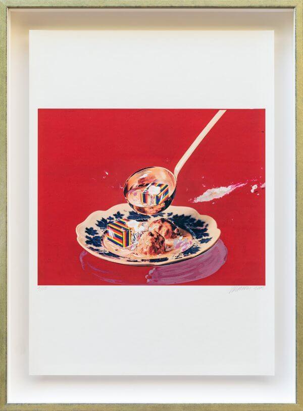 """5.) """"Suppe mit Speisewürfeln, mit Hautkrem 1965/66"""", original autorisiertes Werk Christian Ludwig Attersee"""